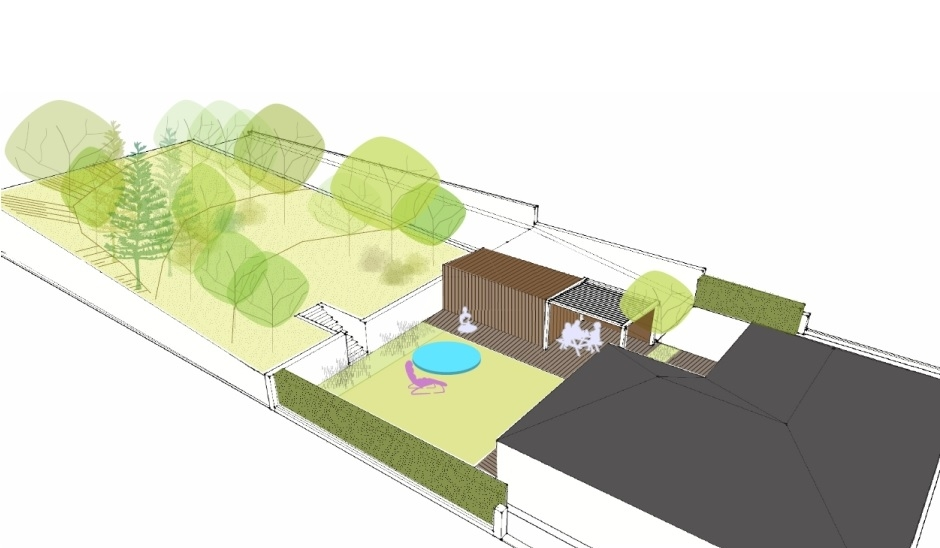 Návrh prostorového řešení zahrady u rodinného domu v Trnavě.